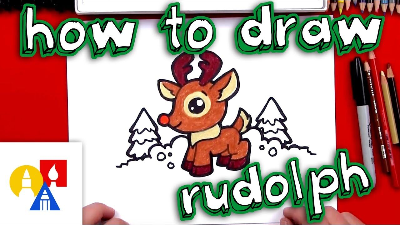 How To Draw Cartoon Rudolph Art For Kids Hub Reindeer Drawing Christmas Drawing