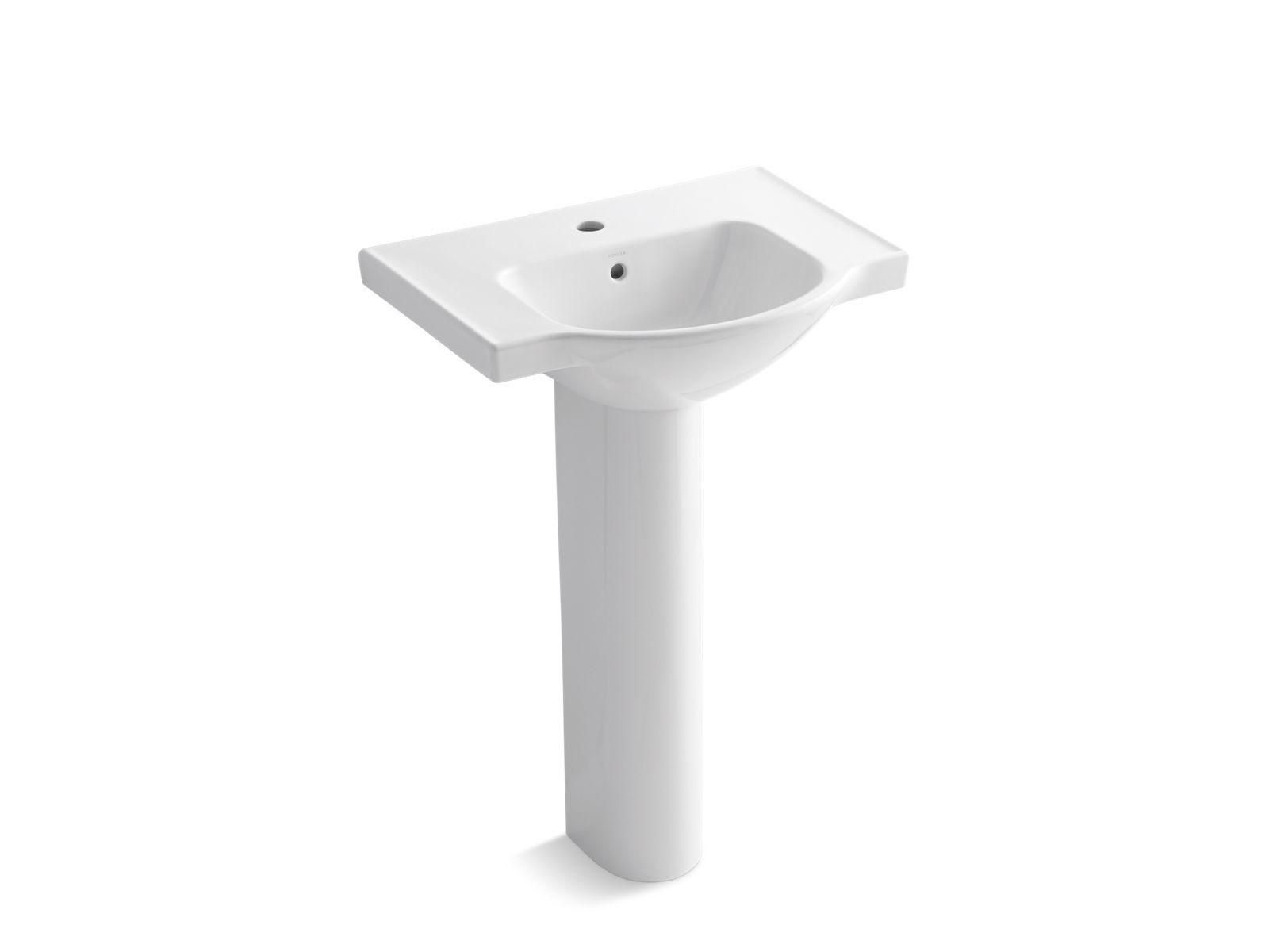 Veer Pedestal Sink With Single Faucet Hole K 5266 1 Kohler