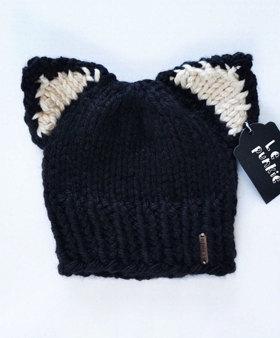 e7250777 Toddler beanie | cat beanie | knit beanie | black cat | hat with ...