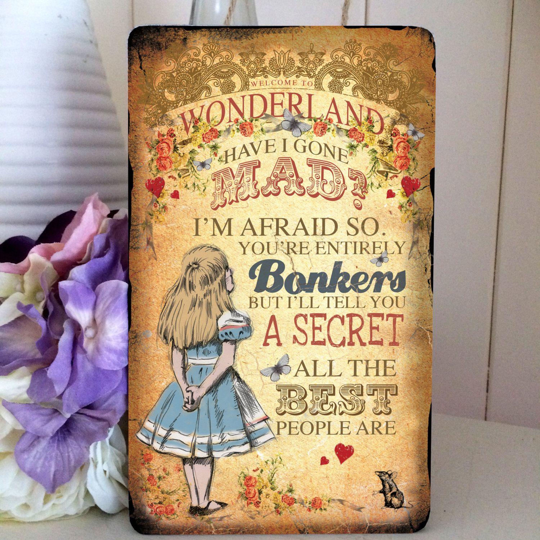 Alice in Wonderland Mad Hatter Hanging Wooden by GiraffeandCustard ...