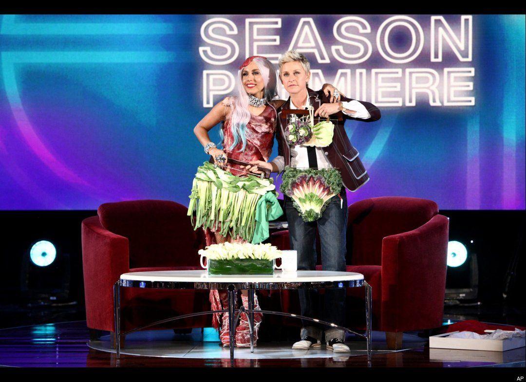 on Ellen's | Lady gaga meat dress, Meat dress, Lady gaga