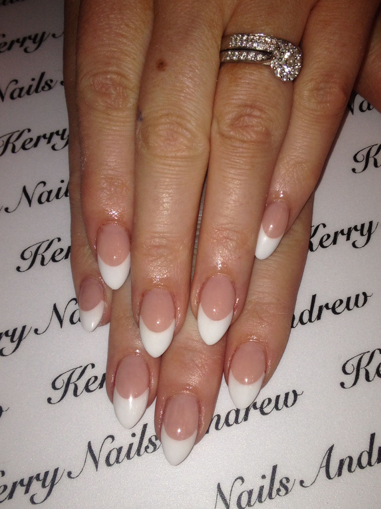 Almond Pink Whites French Acrylic Nails Almond Nails Pink Pretty Nails