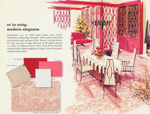 A 1950 living and dining room design with an Armstrong asphalt floor ...
