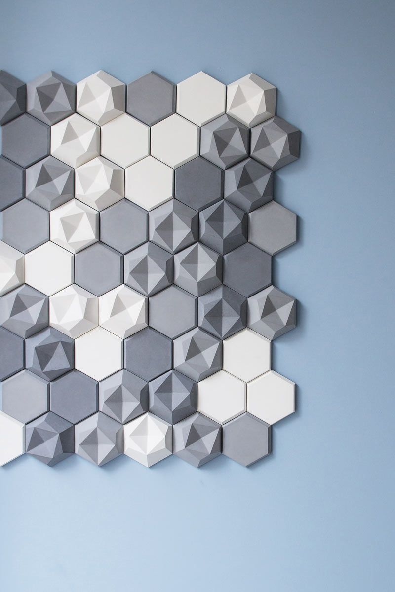 Love these hex concrete wall tiles from KAZA. Flat and dimensional versions. #Feb2015