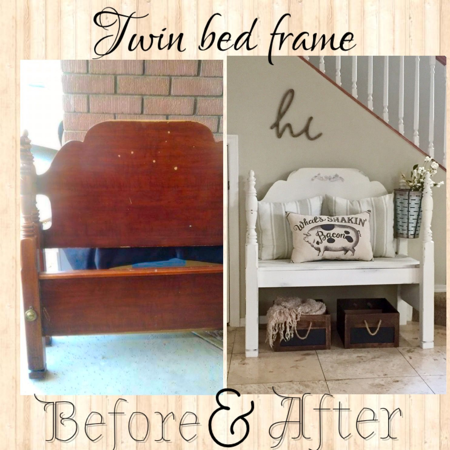 Twin Bed frame bench. 20 bed frame turned to fabulous