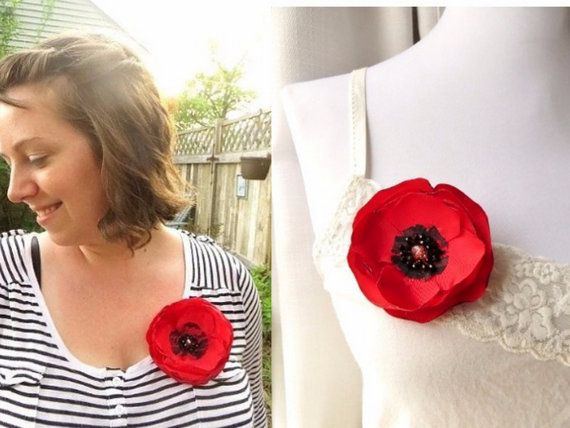 Poppy Red Brooch Poppy Pin Red Poppies Silk Flower Pins by InspiredGreetingsAD | Etsy