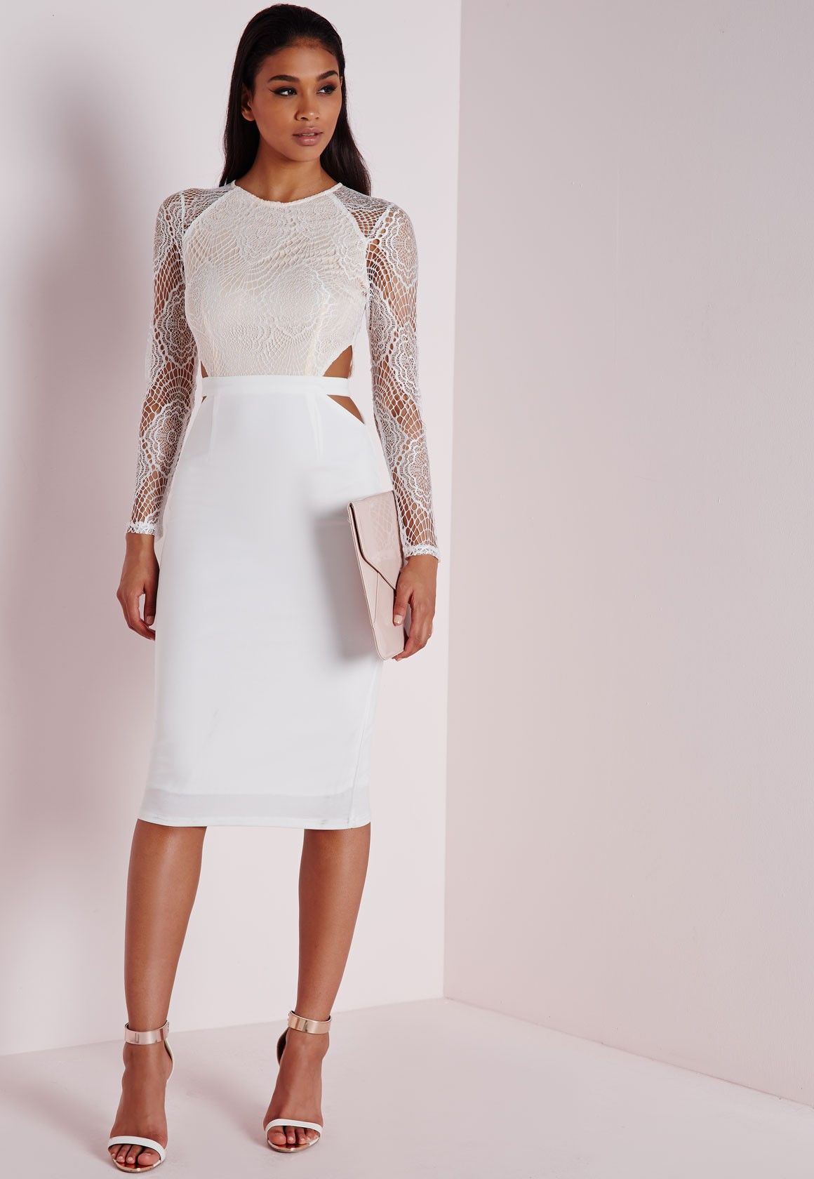 6052ef8b Missguided - Lace Long Sleeve Cut Out Midi Dress White | The ...