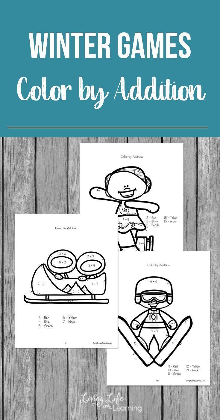 Winter Games Color by Addition Worksheets | Addition worksheets ...