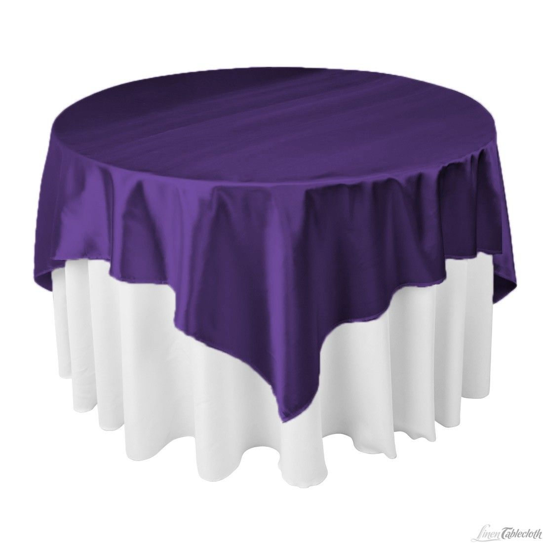 Buy 72 Inch Square Purple Satin Table Overlay To Match Your Wedding  Tablecloths At LinenTablecloth!