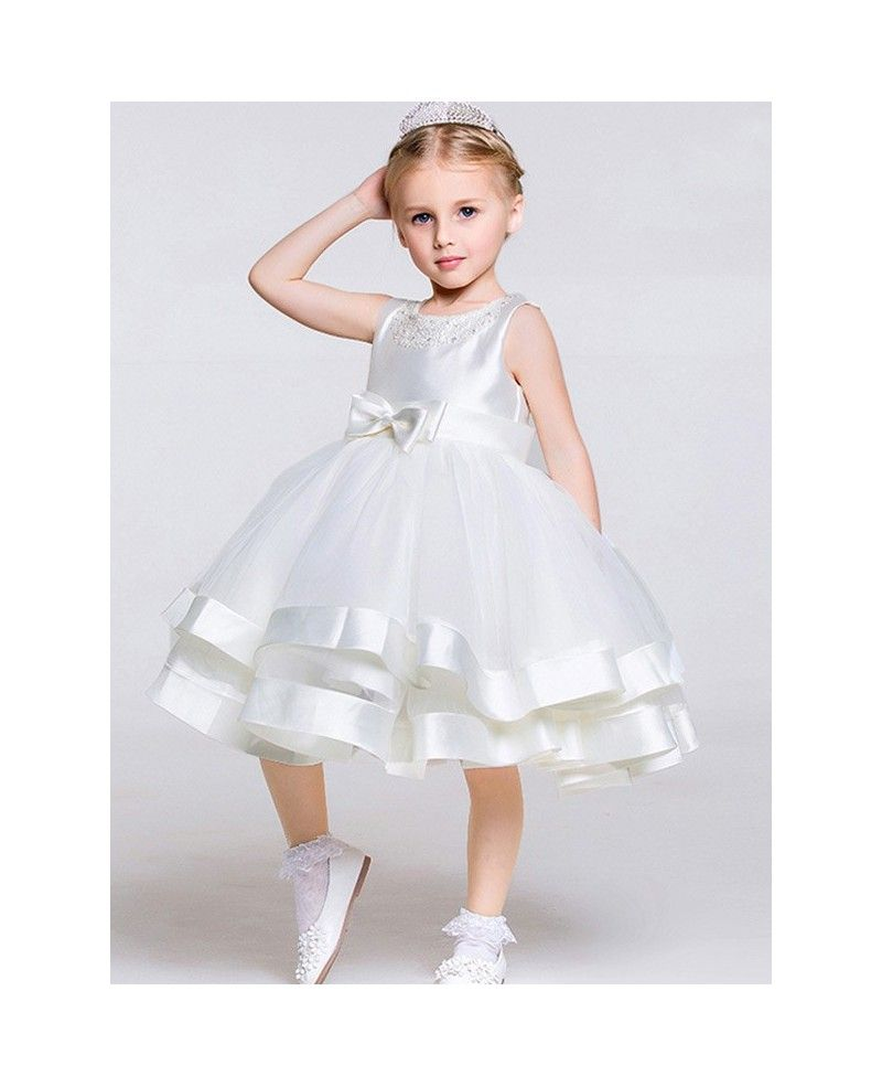 Tea Length Ball Gown Layered Tulle Satin Pageant Dress ...