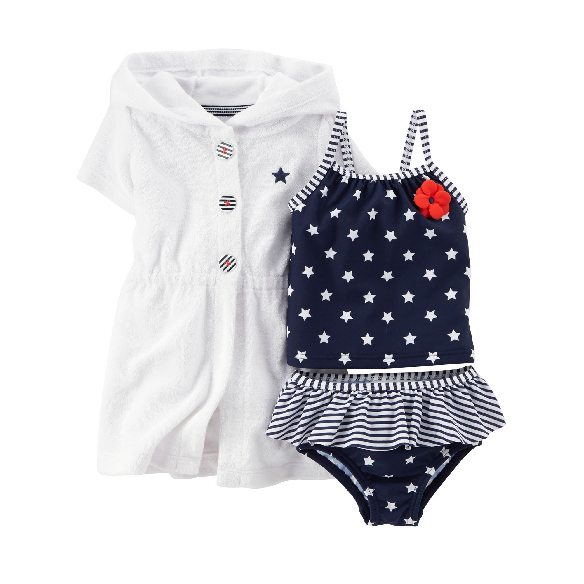 74dddeb7f4 Carter s® Baby Girls  4th Of July 3-Piece Tankini   Cover Up Swimsuit Set