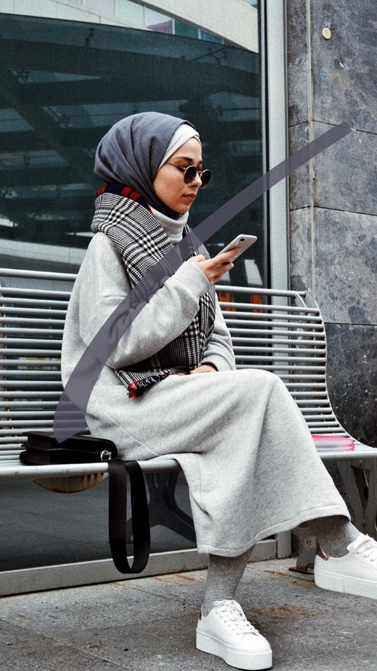 Photo of A great combination insta: Rumeysa ♥ ️ #grey #loveit #hijab #hijabstyle