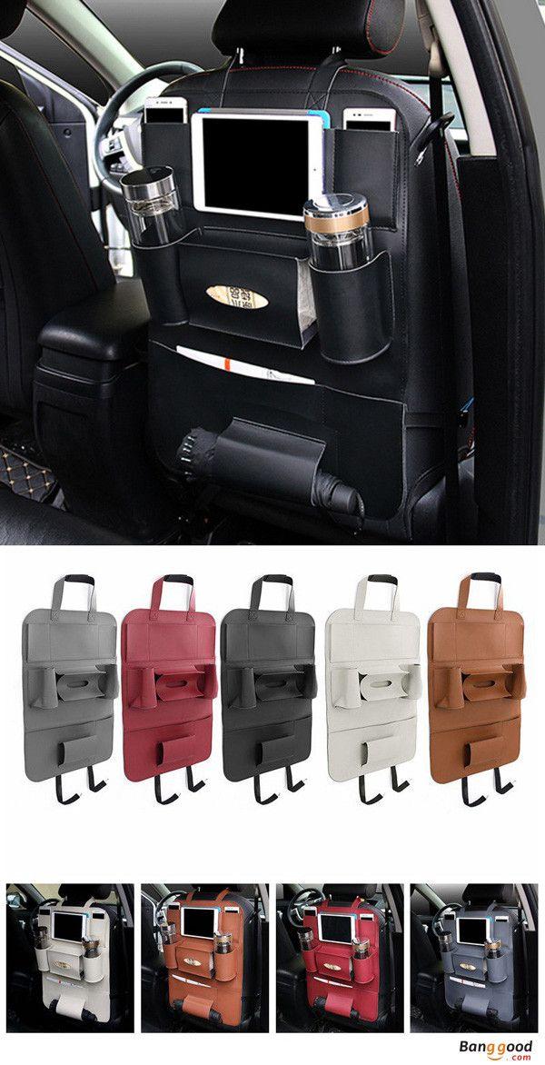 Leather Multifunction Auto Seat Back Bag Organizer Storage Cup iPad Phone Pocket