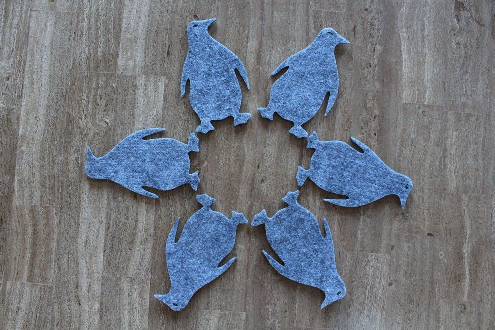 Funny Grey Felt Coaster Penguin Shape Set of 6 #handmade