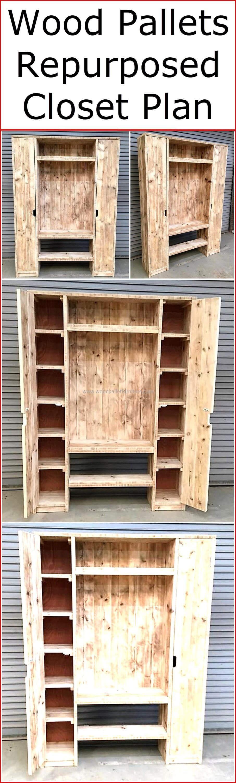 Wood Pallets Repurposed Closet Plan Diy Furniture