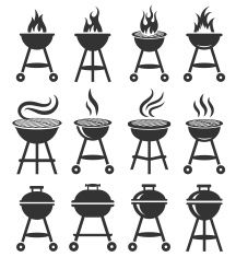 Summer Barbecue Black And White Royalty Free Vector Icon Set Vector Art Illustration Summer Barbecue Burger Drawing Icon Set Vector