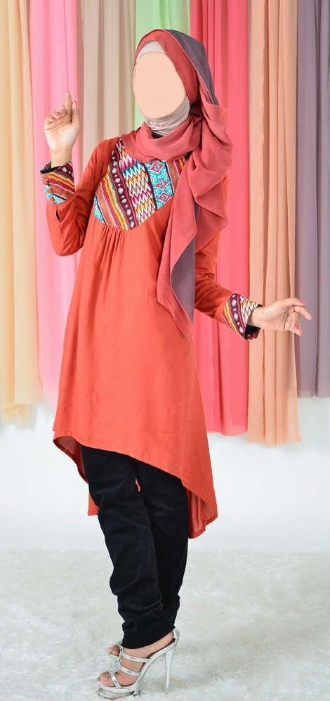 Blus Muslimah Vannara 284 - Orange - www.pernikmuslim.com aneka baju busana  muslim dan muslimah 7dee275565