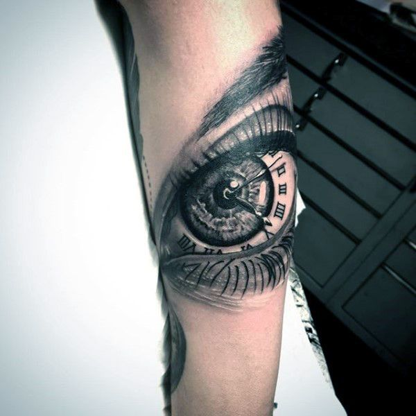 mens forearm eye roman numeral clock tattoo design ideas tattoos arms and hands pinterest. Black Bedroom Furniture Sets. Home Design Ideas