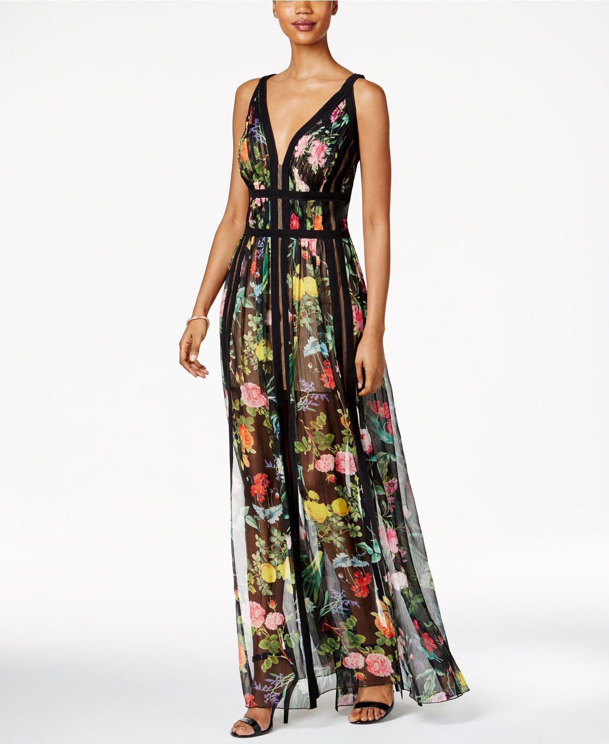0ee7fa9841e2 Tadashi Shoji Floral-Print A-Line Gown - Dresses - Women - Macy s ...