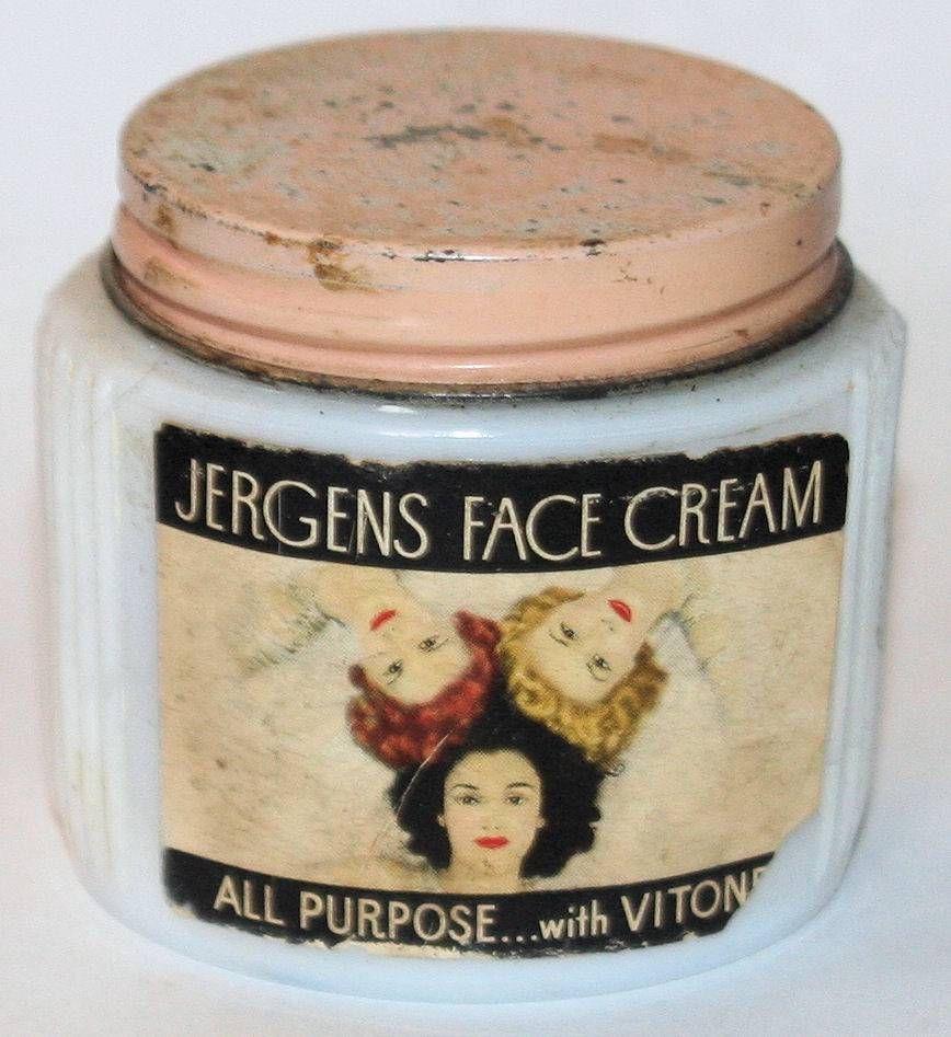 Vintage Jergens Face Cream Jar Bottle Milk Glass Original