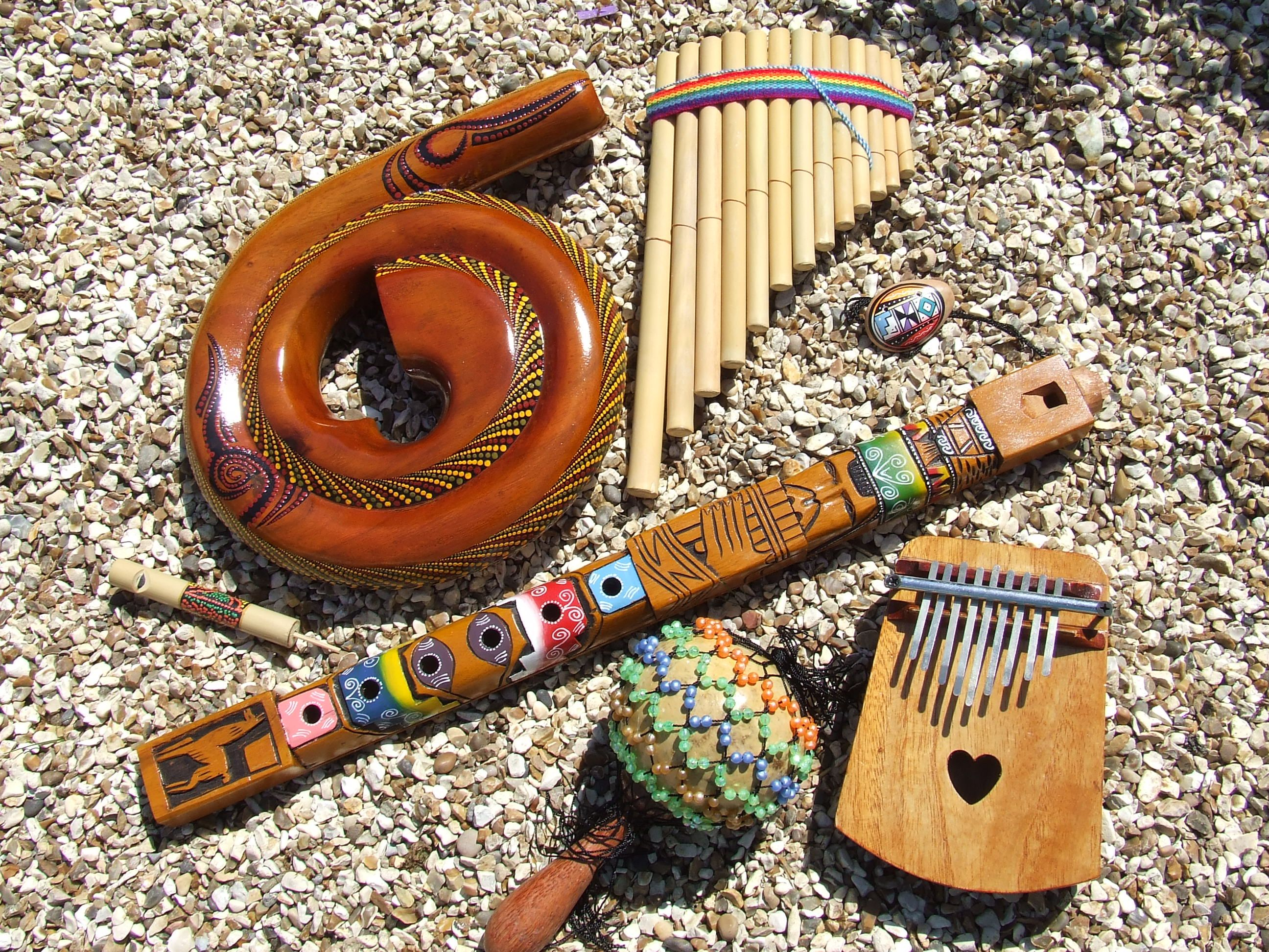 a small range of woodwind and percussion instruments including a north american indian flute. Black Bedroom Furniture Sets. Home Design Ideas