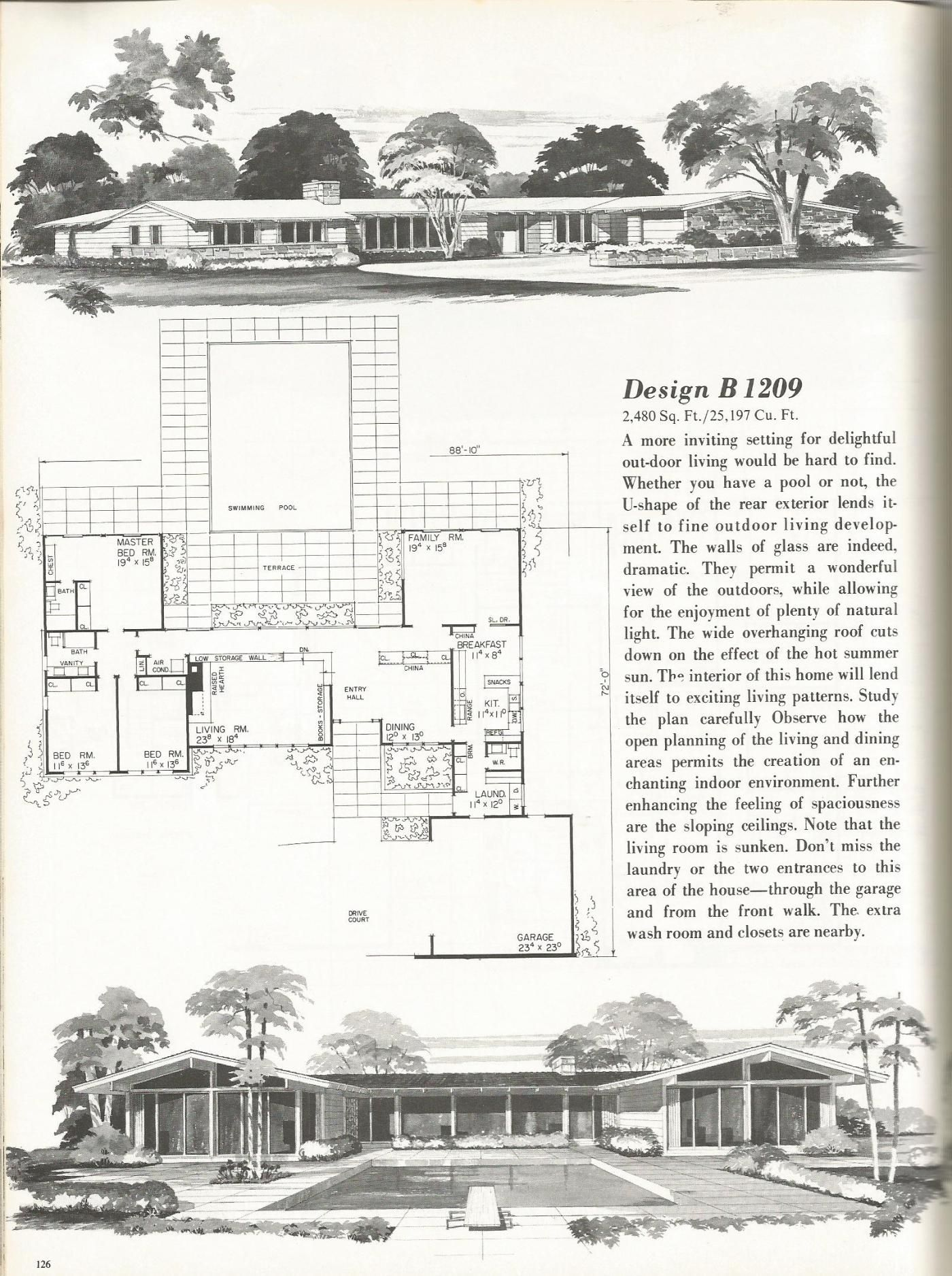 Vintage house plans 2000 square foot homes mid century for Antique house plans