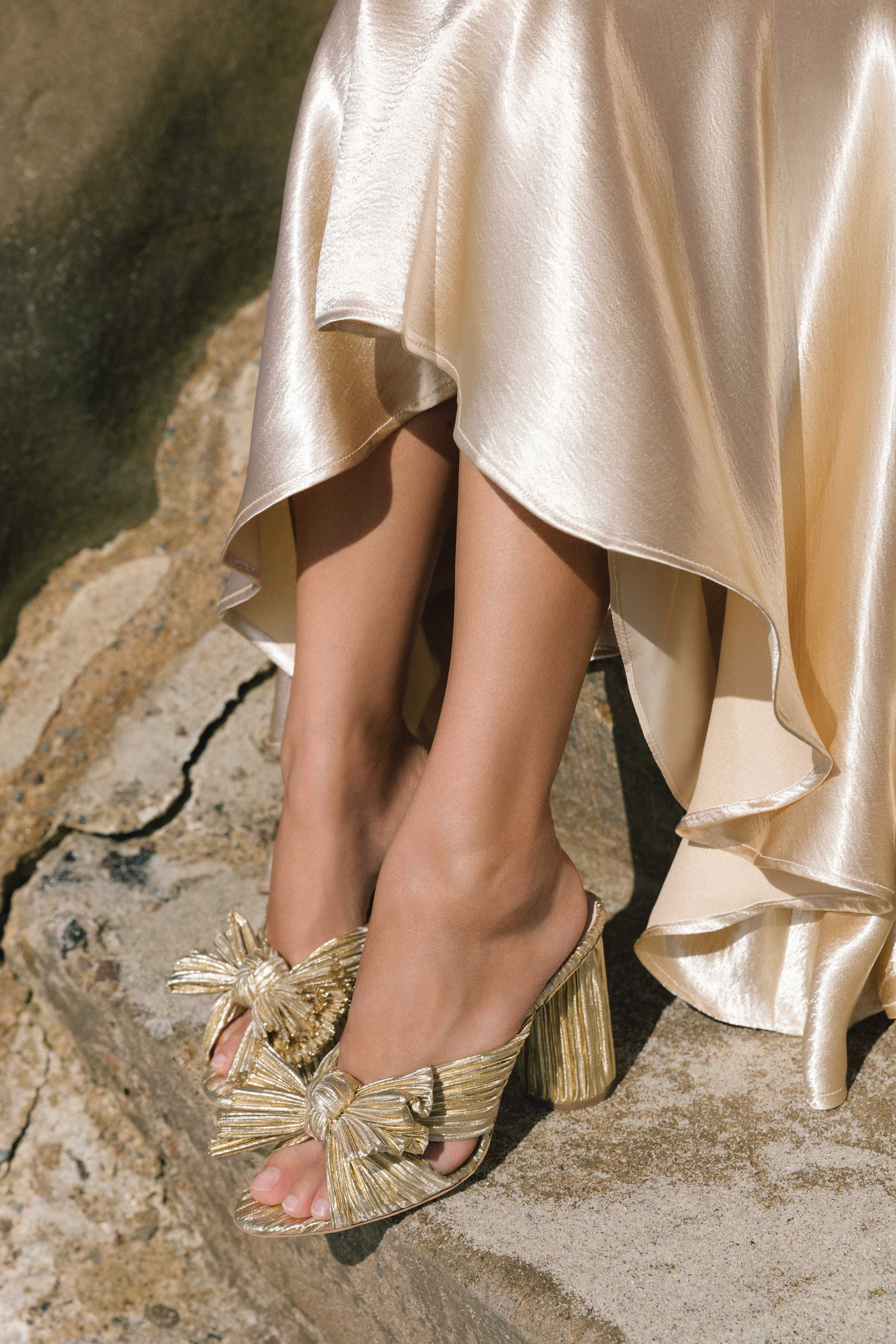 818c6187374e Penny Pleated Knot Slide in Gold Pleated Lame Gold Shoes