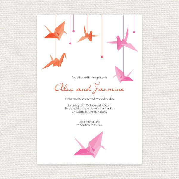 paper crane printable wedding invitation $32 00 via Etsy