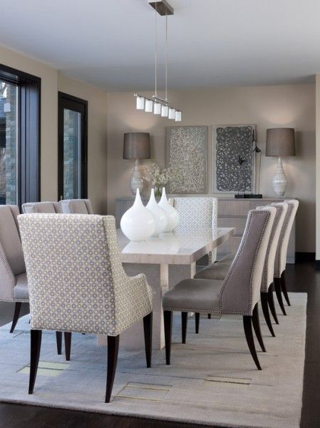 Plush Light Grey Dining Room Black Chairs Walls Carpet Dark