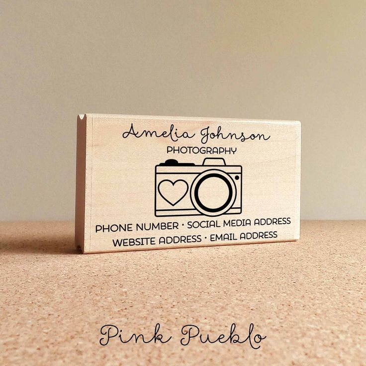 Personalized Photography Business Card Stamp, Camera Business Card ...