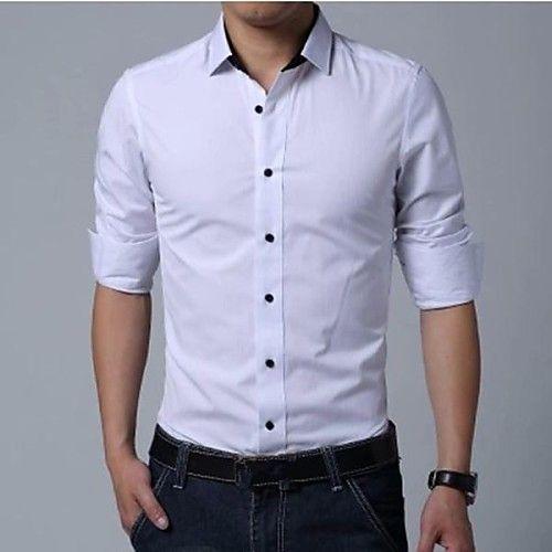 Slim Fit Camisa El/ástica Casual//Formal para Hombre Manga Larga Camisa Mezcla de Algodon Hombre