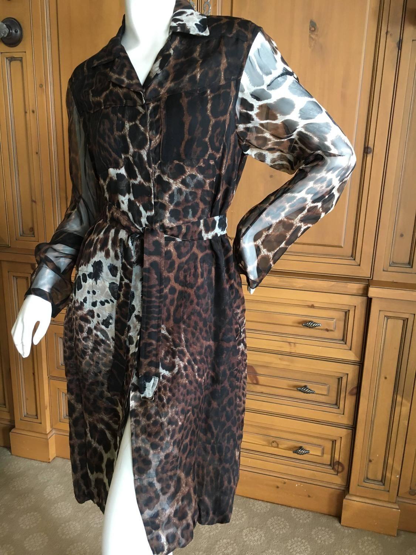 Yves saint laurent sheer silk leopard print belted coat dress by tom