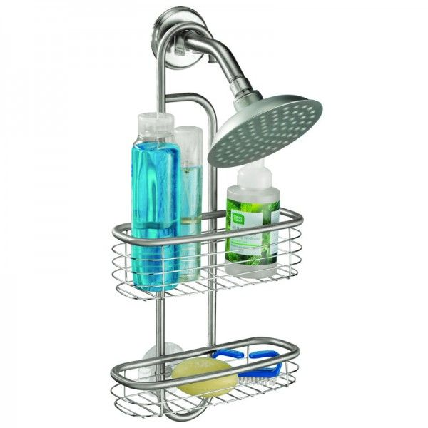 This chrome shower caddy has a fixed hook at the top so it can fit ...