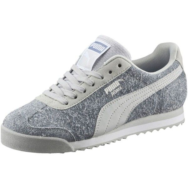 Puma Roma Elemental Women's Sneakers ($65) ❤ liked on Polyvore featuring  shoes, sneakers, glacier gray, grey sneakers, arch support shoes, arch sup…