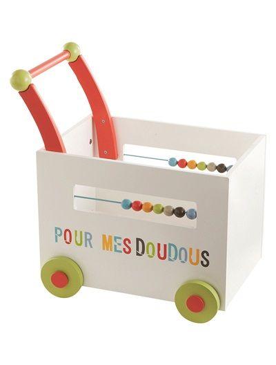 Coffre De Rangement Bebe A Roulettes Doudous Multicolore