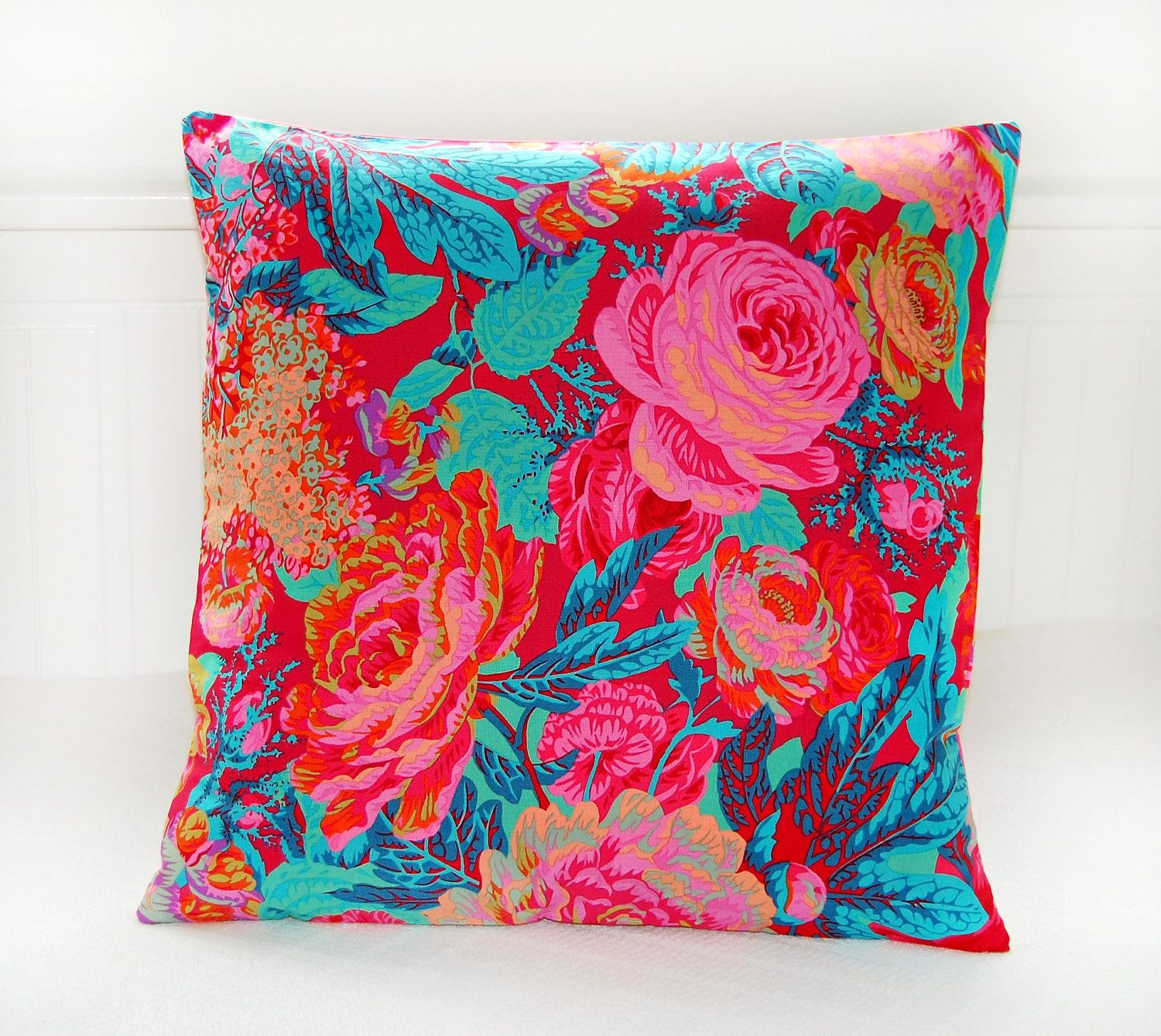 Throw pillows cards mugs shower curtains - Decorative Pillow Cover Orange Teal Pink Roses Flowers Cushion Cover 16 Inch