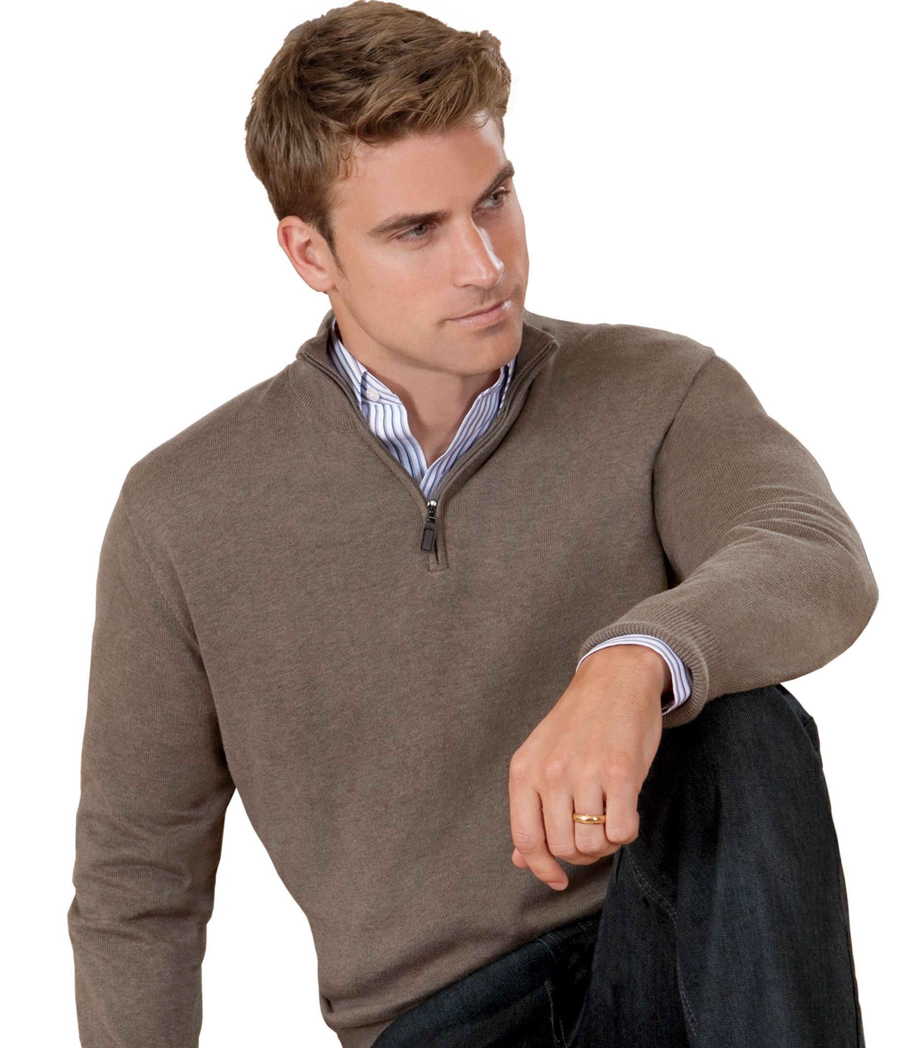 Jos A Banks Signature Pima Cotton Half Zip Sweater Big Tall Mens Cotton Sweaters Half Zip Sweaters Mens Outfits