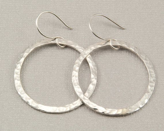 Large Silver Hoop Earrings Hammered Hoops Handmade Jewelry By Bel