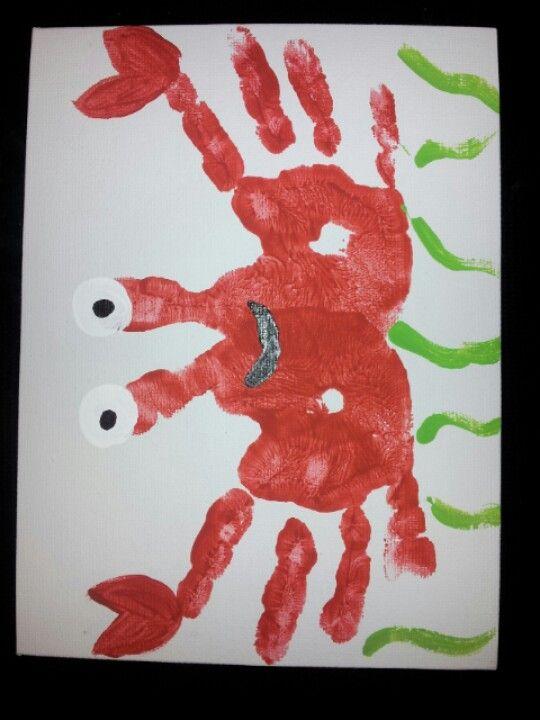 Handprint Crabs Danee Handabdruck Basteln Kinderbasteleien