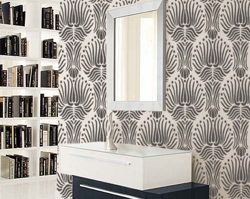 [ Stencil For Walls Art Deco Flora Pattern Large Reusable Platin Glass Wall  Decor Idyllic Jetty ] - Best Free Home Design Idea & Inspiration