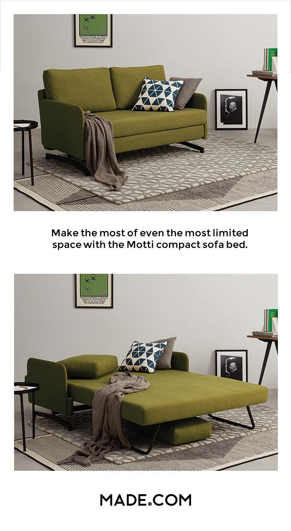 Motti Sofa Bed Juniper Green Compact Sofa Bed Sofa Bed Guest Room Small Room Sofa