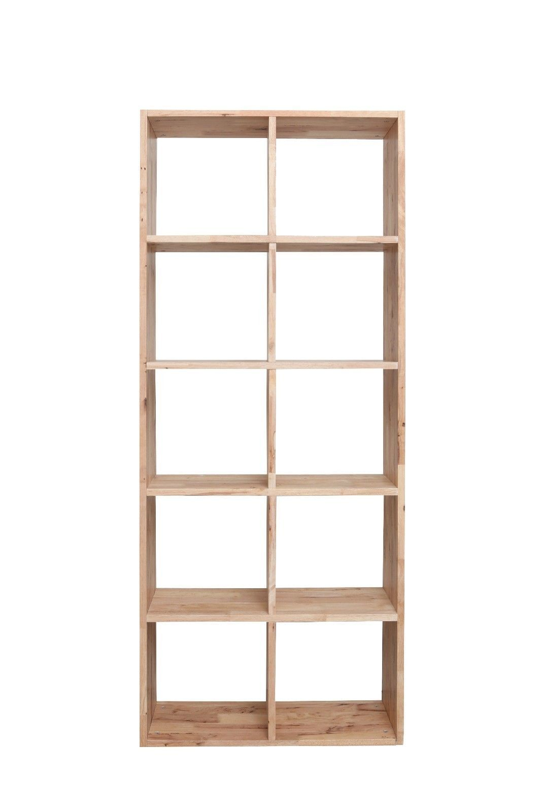 Scandinavian Natural Timber Bookcase Bookshelf 10 Cube Shelf Storage Bookcase Shelving Unit Contemporary Bookcase