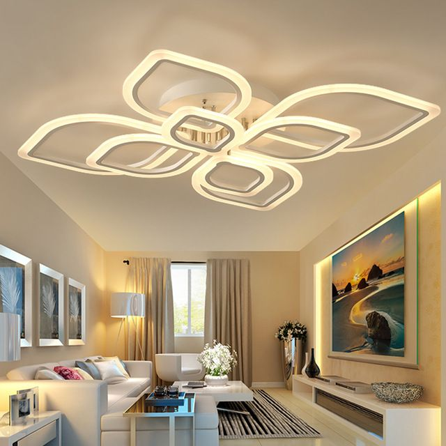 Led ceiling lights for living room bedroom decoration lighting fixtures ac90260v flame shaped