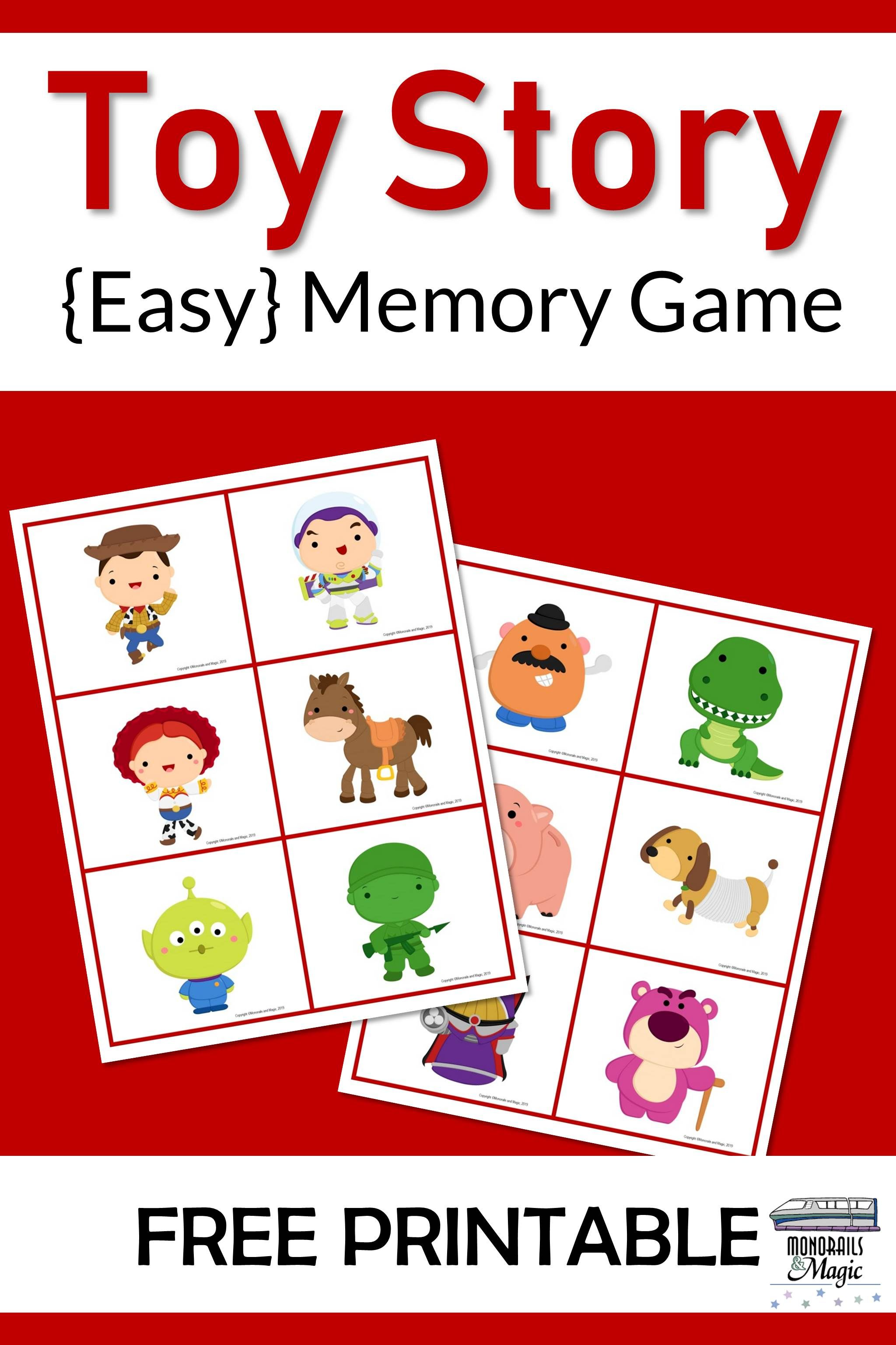 Toy Story Memory Game Free Printable With Images