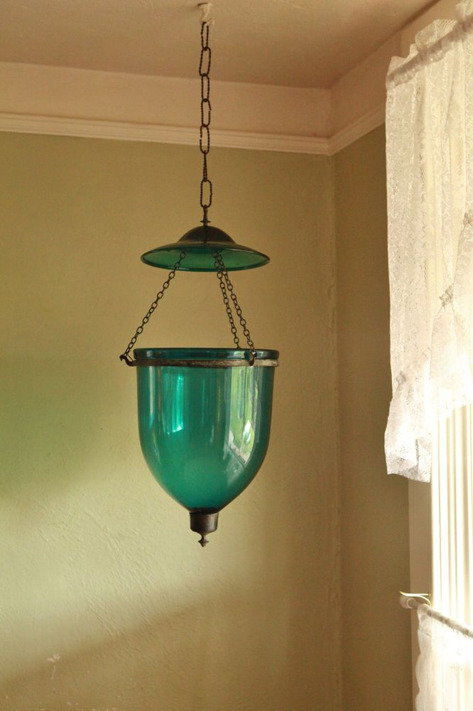 Antique Colonial Hand N Gl Hanging Lamp Bell Jar
