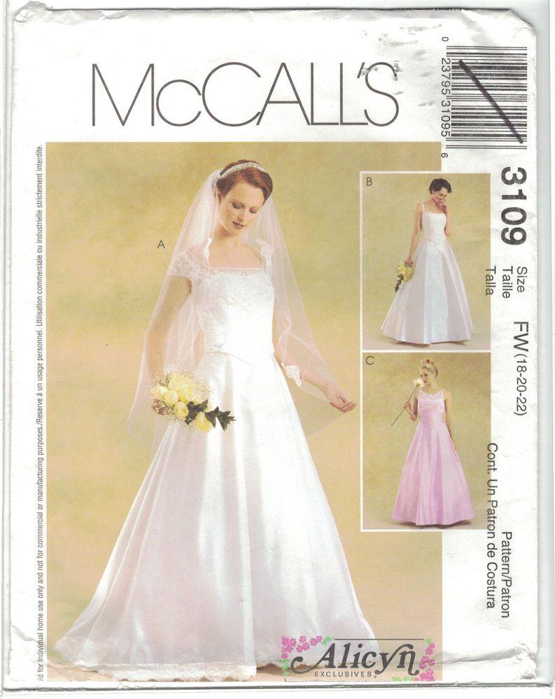 Mccall S 3109 Alicyn Wedding Dress Gown Pattern Cap Sleeve Option Size 18 20 22 23795310956 Ebay Wedding Dress Patterns Bridesmaid Dress Sizes Patterned Bridesmaid Dresses