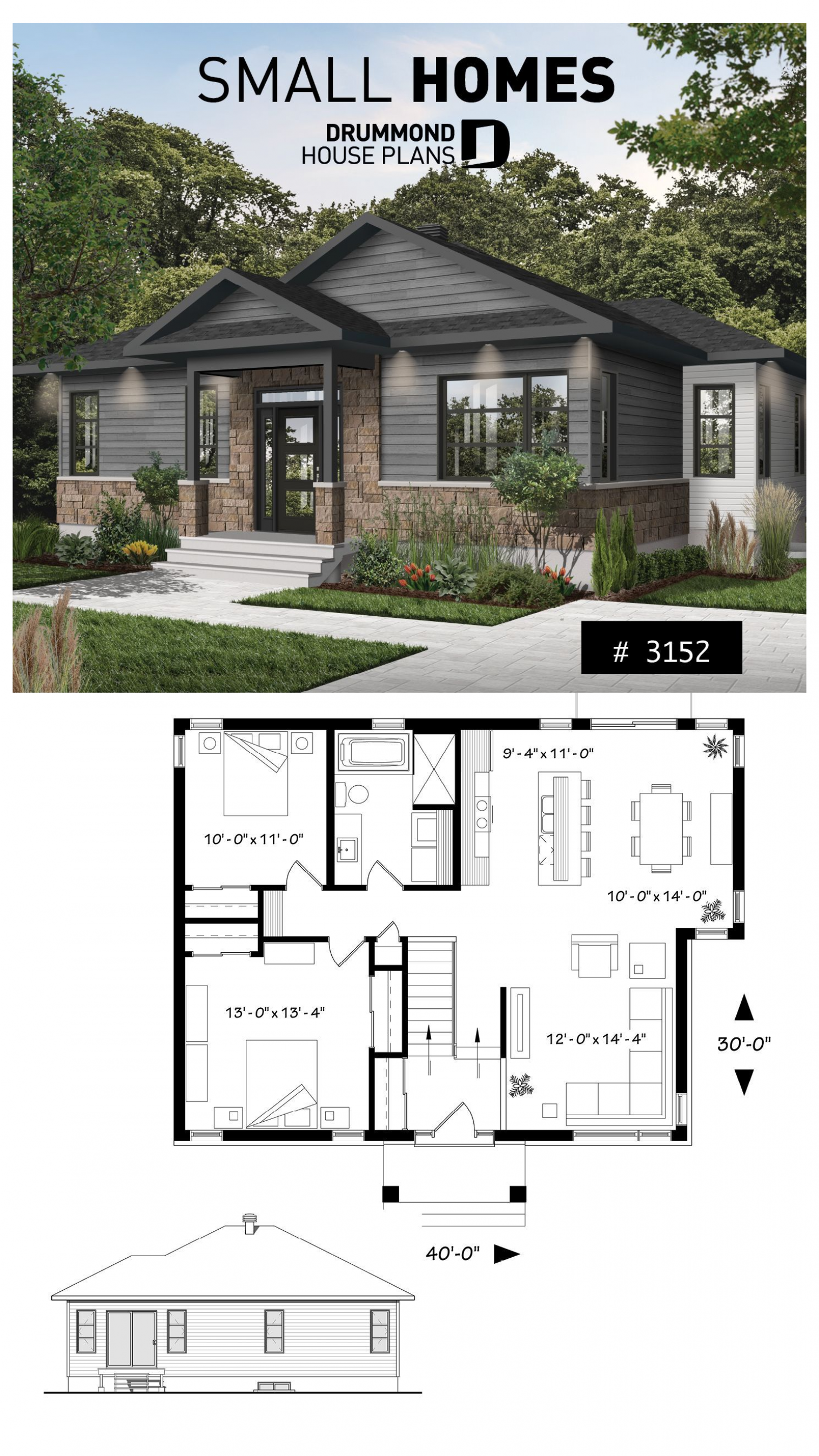 Small Modern Rustic Home 2 Bedroom Rustic Modern Home Plan Split Entry Large Kitchen Island Lar Rustic House Plans Modern Rustic Homes Modern House Plans