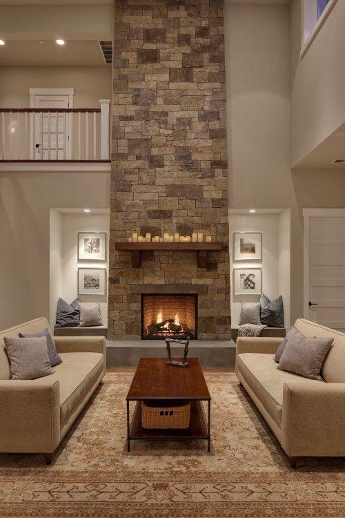 Stylish Modern Stone Fireplace Wall Sconces On Both Sides Modern