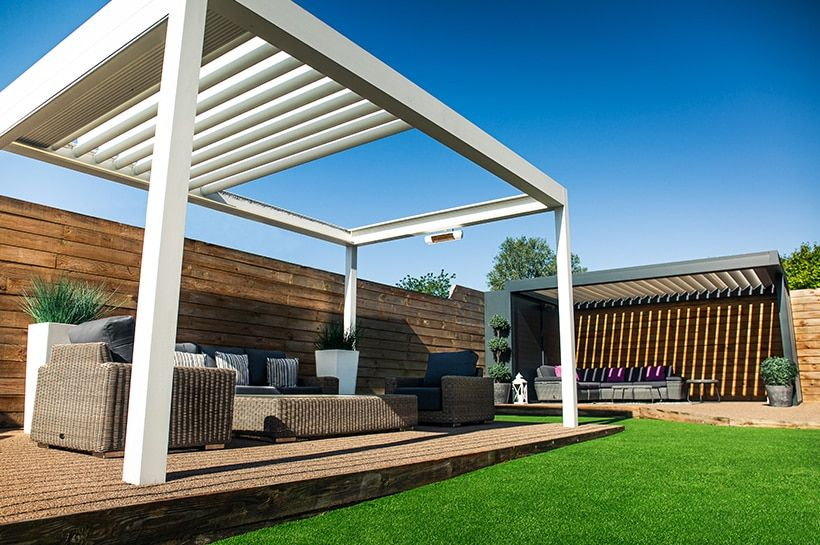 Outdoor Living Pod™ Pergola Canopy Caribbean Blinds in