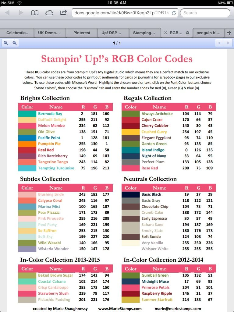Rgb Printing Colour Chart  Su Color Coordination